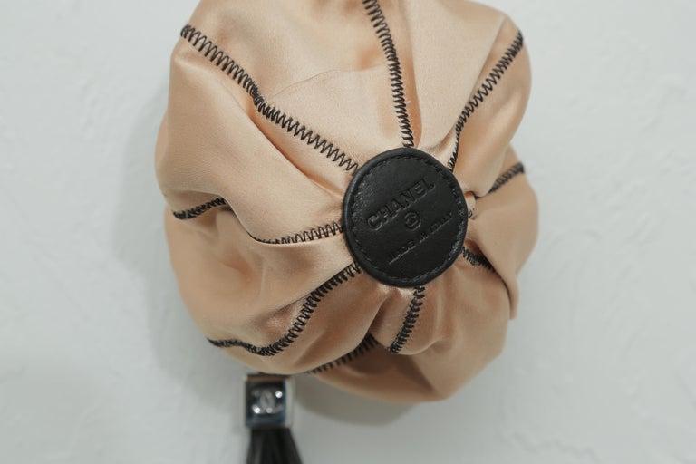 Chanel Drawstring Bag Reversible Sac Cordon Black Lambskin Leather Wristlet For Sale 1