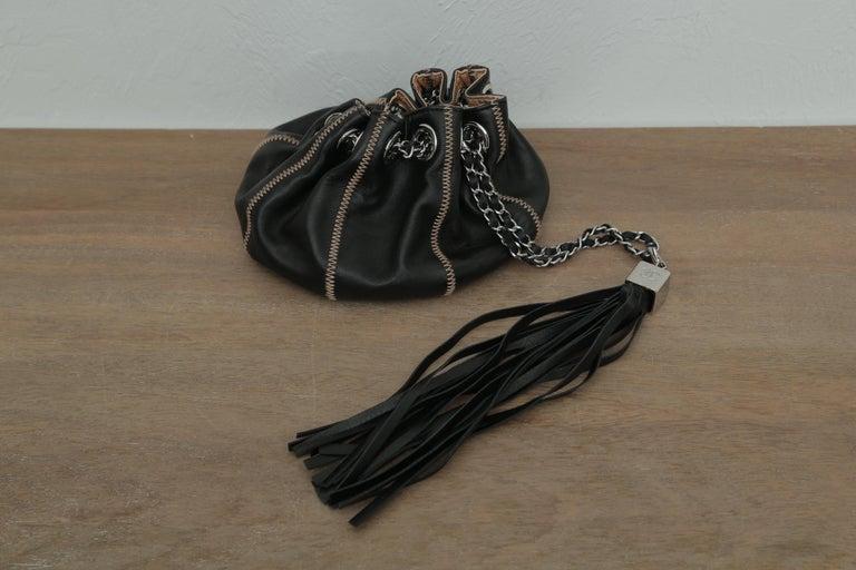 Chanel Drawstring Bag Reversible Sac Cordon Black Lambskin Leather Wristlet For Sale 2