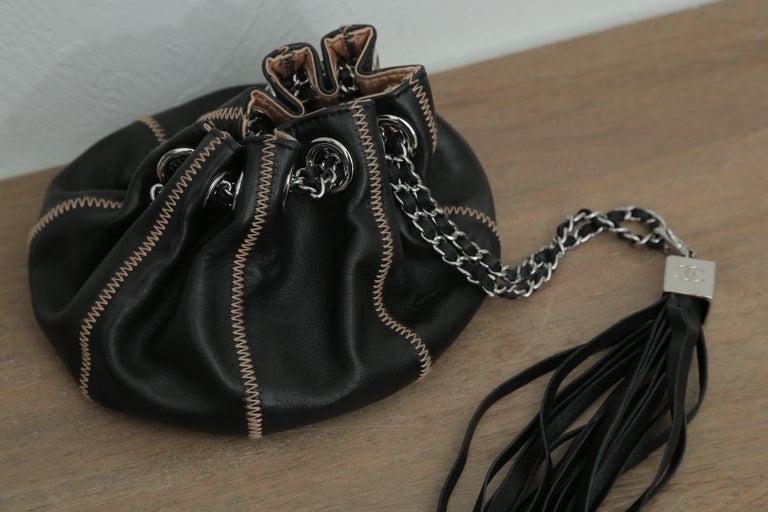 Chanel Drawstring Bag Reversible Sac Cordon Black Lambskin Leather Wristlet For Sale 3