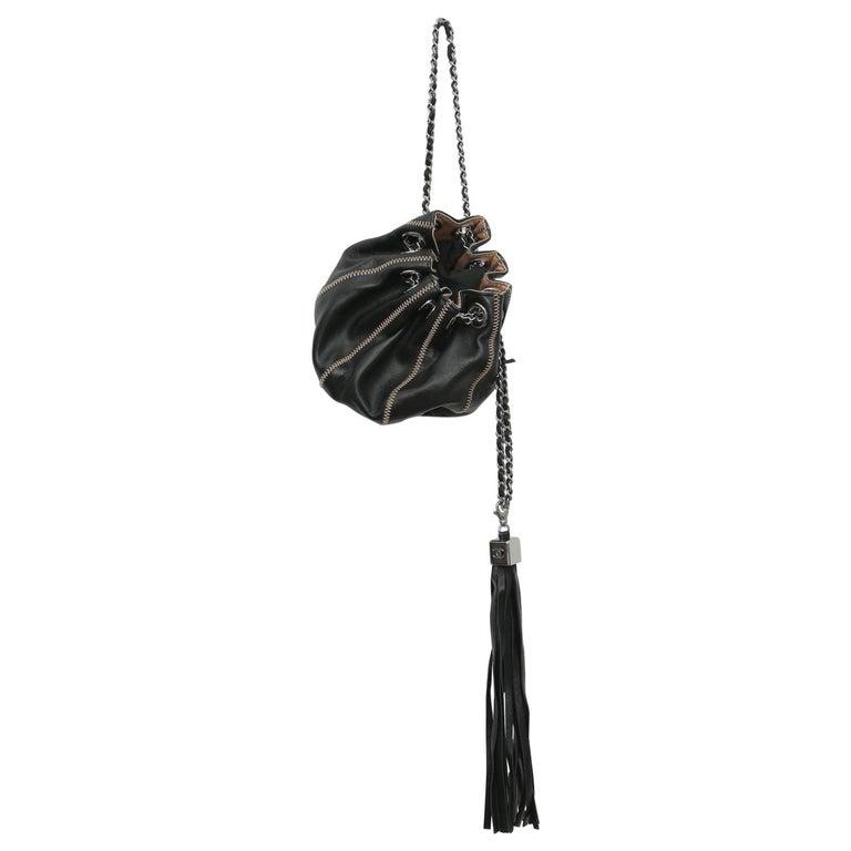 Chanel Drawstring Bag Reversible Sac Cordon Black Lambskin Leather Wristlet For Sale