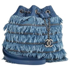 Chanel Drawstring Bucket Cruise 2015 Tweed Fringe & Lambskin Mini Blue Denim Bag