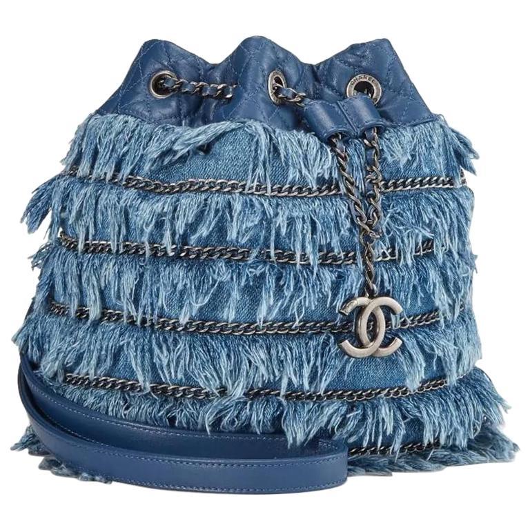 Chanel Drawstring Bucket Cruise 2015 Tweed Fringe & Lambskin Mini Blue Denim Bag
