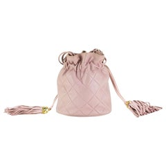 Chanel Drawstring Bucket Quilted Two Tone Light Pink Lambskin Leather Hobo Bag
