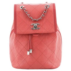 Chanel Drawstring CC Flap Backpack Quilted Aged Calfskin and Grosgrain Sm