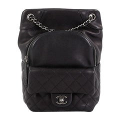 Chanel Drawstring CC Flap Backpack Quilted Lambskin Medium