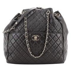 Chanel Drawstring CC Lock Bucket Bag Quilted Lambskin Medium