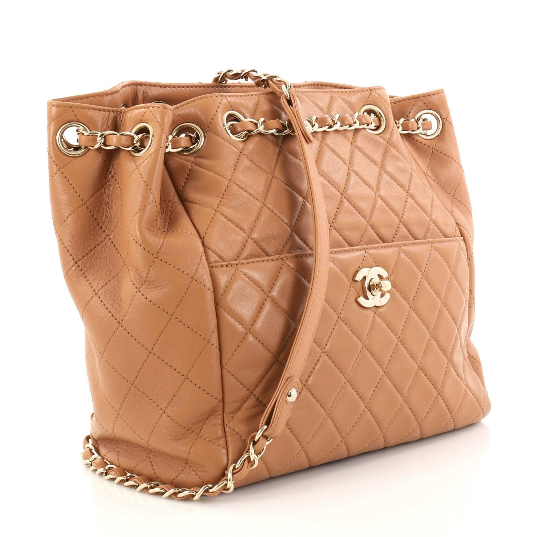 dcc3444224acd Chanel Drawstring CC Lock Quilted Lambskin Small Bucket Bag at 1stdibs