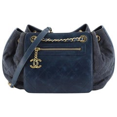 Chanel Drawstring Shoulder Bag Quilted Denim and Aged Calfskin Medium