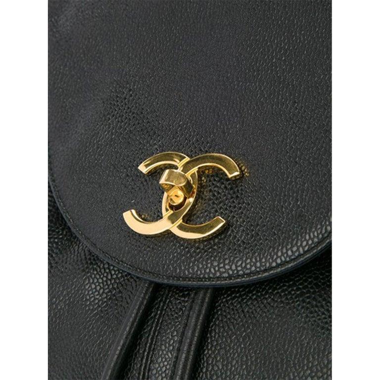 Chanel Drawstring Vintage 1990s Cc Rucksack Black Caviar Leather Backpack For Sale 1