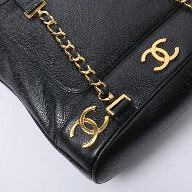 Chanel Drawstring Vintage 1990s Cc Rucksack Black Caviar Leather Backpack For Sale 2