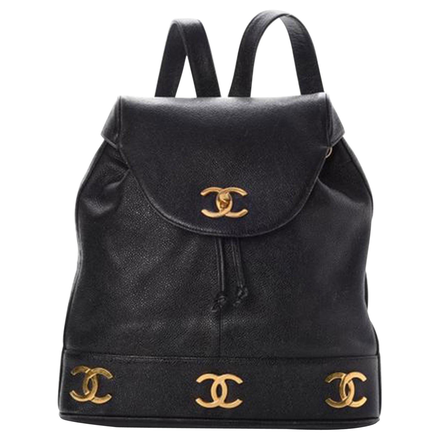 Chanel Drawstring Vintage 1990s Cc Rucksack Black Caviar Leather Backpack