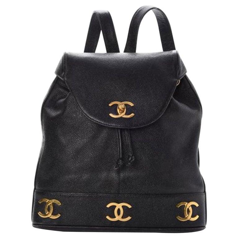 Chanel Drawstring Vintage 1990s Cc Rucksack Black Caviar Leather Backpack For Sale