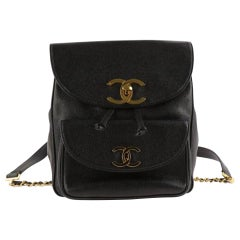 Chanel Drawstring Vintage Caviar Black Leather Backpack