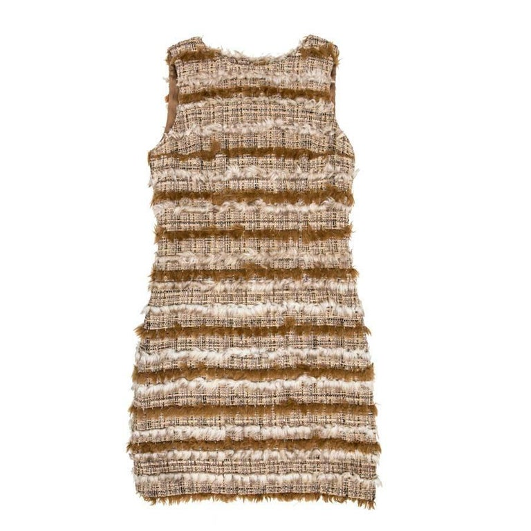 CHANEL Dress in Tweed and Faux Fur Size 38FR