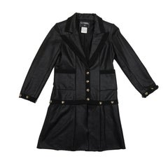 CHANEL Dress Jacket in Black Cotton and Cashmere Size 36FR