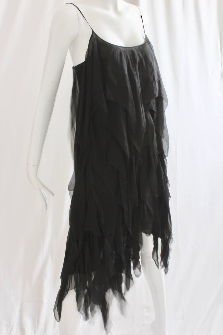 Chanel Dress Layered Black Silk Chiffon Flapper Style Cocktail Size 6 Rare 1970s For Sale 6