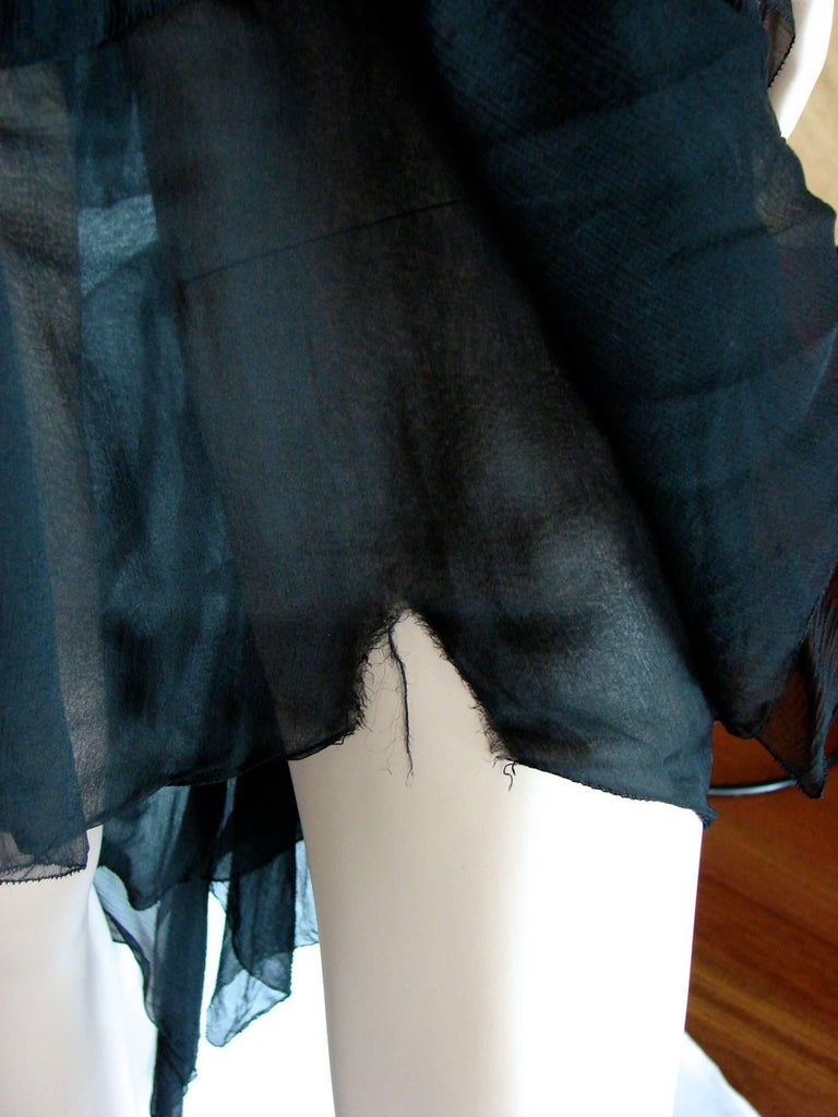 Chanel Dress Layered Black Silk Chiffon Flapper Style Cocktail Size 6 Rare 1970s For Sale 7