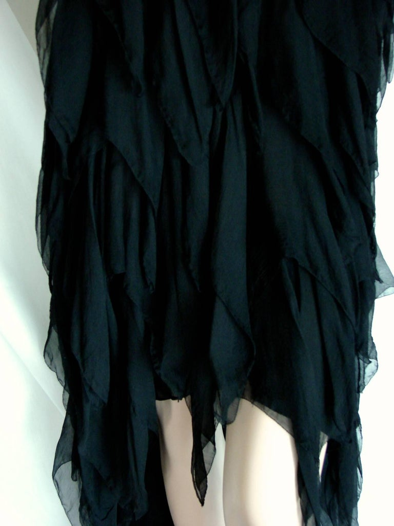 Chanel Dress Layered Black Silk Chiffon Flapper Style Cocktail Size 6 Rare 1970s For Sale 8