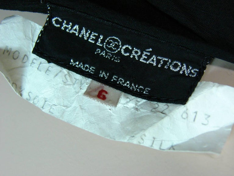 Chanel Dress Layered Black Silk Chiffon Flapper Style Cocktail Size 6 Rare 1970s For Sale 11