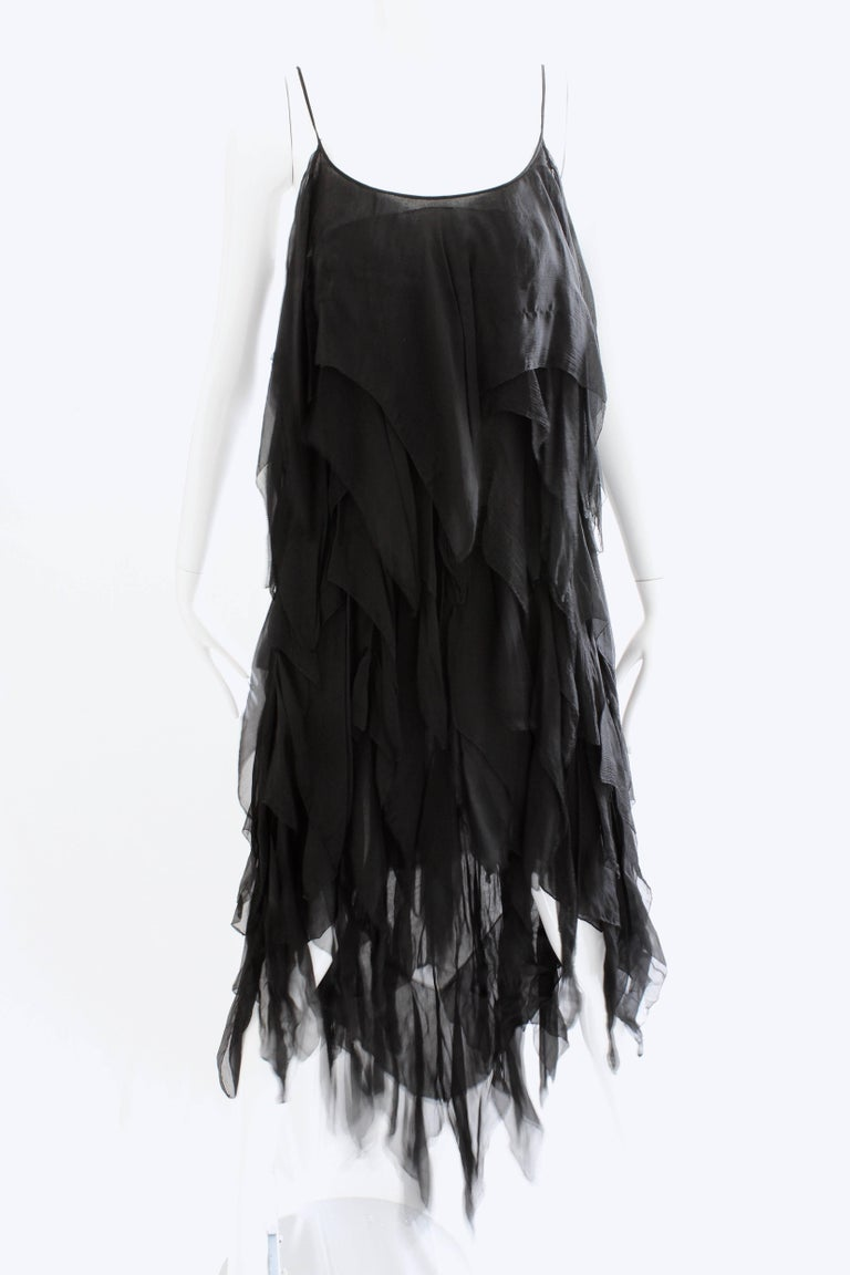 Chanel Dress Layered Black Silk Chiffon Flapper Style Cocktail Size 6 Rare 1970s In Good Condition For Sale In Port Saint Lucie, FL
