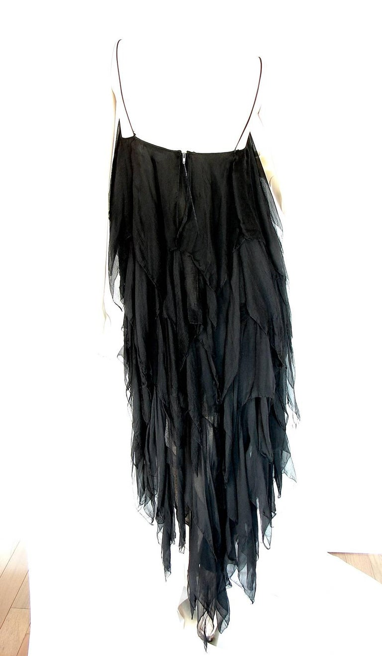 Chanel Dress Layered Black Silk Chiffon Flapper Style Cocktail Size 6 Rare 1970s For Sale 3