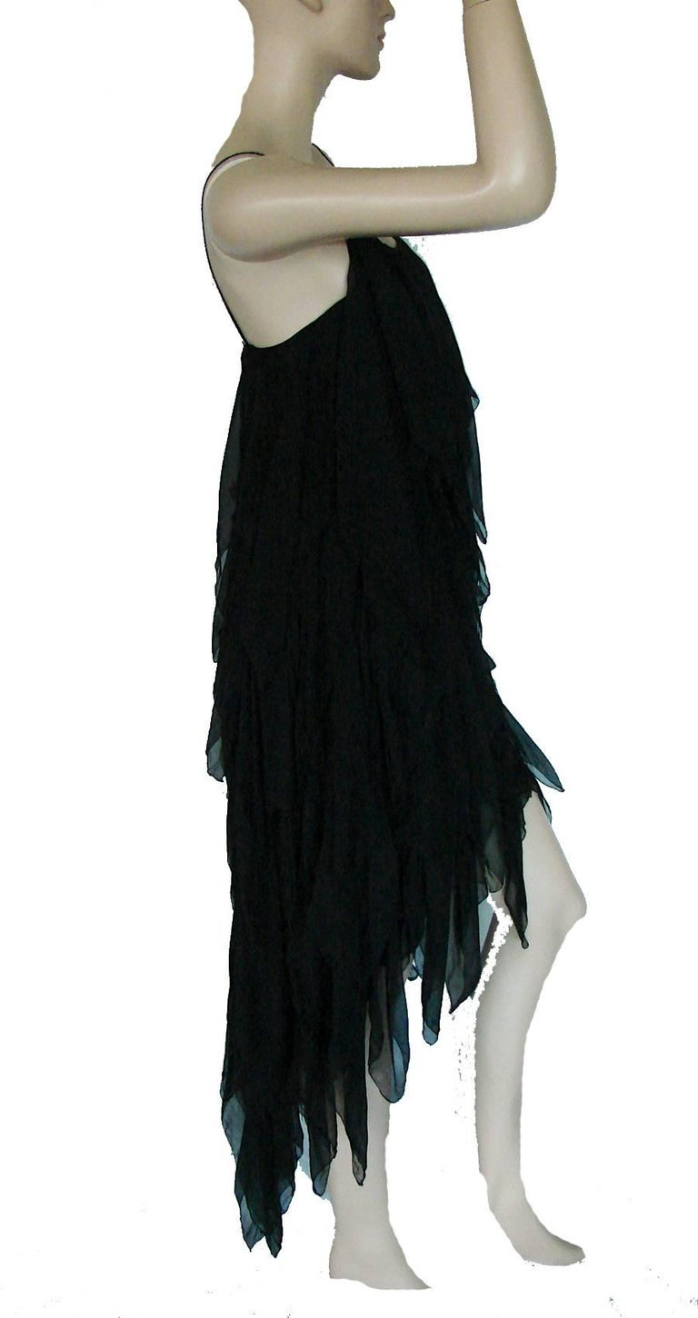 Chanel Dress Layered Black Silk Chiffon Flapper Style Cocktail Size 6 Rare 1970s For Sale 5