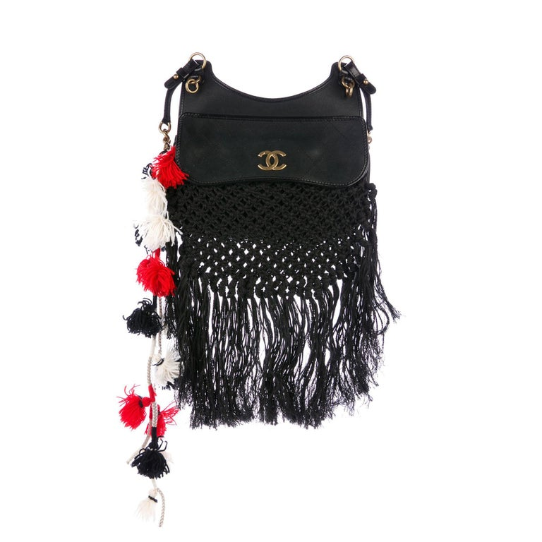 Chanel Dubai Resort Runway Limited Edition Fringe Crochet Pom Pom Bag In Good Condition For Sale In Miami, FL