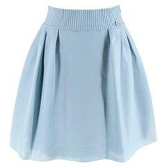 Chanel Duck Egg Lurex Pleated Skater Skirt - Size US 4