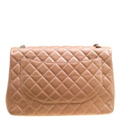Chanel Dusty Pink Quilted Leather Maxi Classic Single Flap Bag