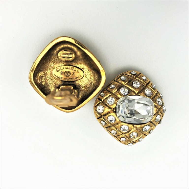 Artisan CHANEL ear clips signed 2CC3 quilted gold plated  For Sale