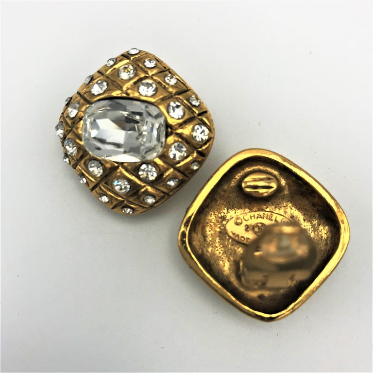 Octagon Cut CHANEL ear clips signed 2CC3 quilted gold plated  For Sale