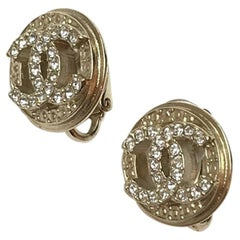 Chanel Earrings Gold Color Clips On Double CC Rhinestones