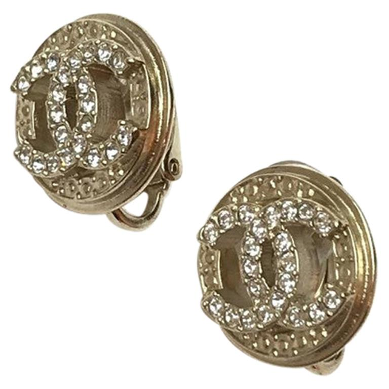 Chanel Earrings Gold Color Clips On Double CC Rhinestones For Sale