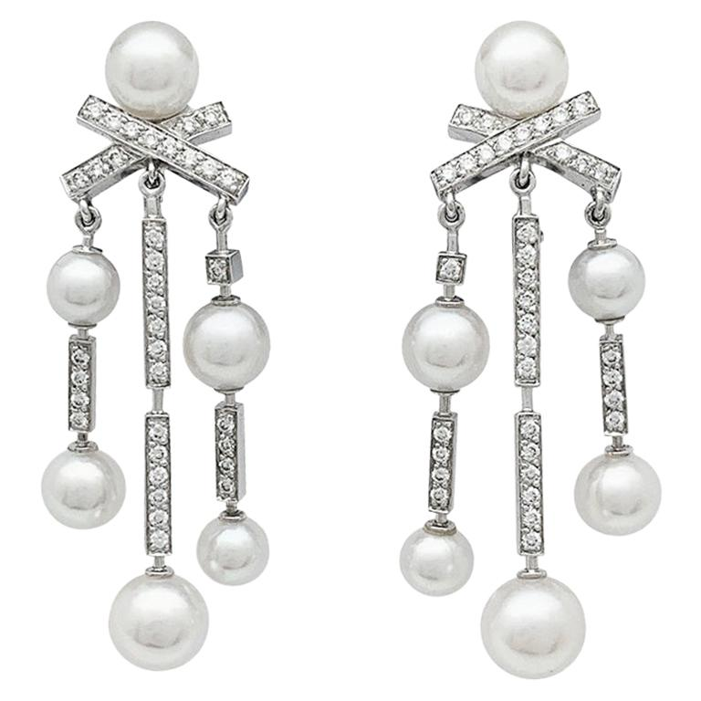"""Chanel Earrings """"Matelassé"""" Collection, White Gold, Pearls and Diamonds"""