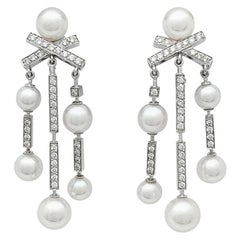 "Chanel Earrings ""Matelassé"" Collection, White Gold, Pearls and Diamonds"