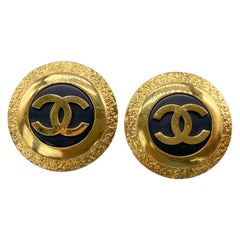 CHANEL Earrings Vintage 1980s Clip On 1987