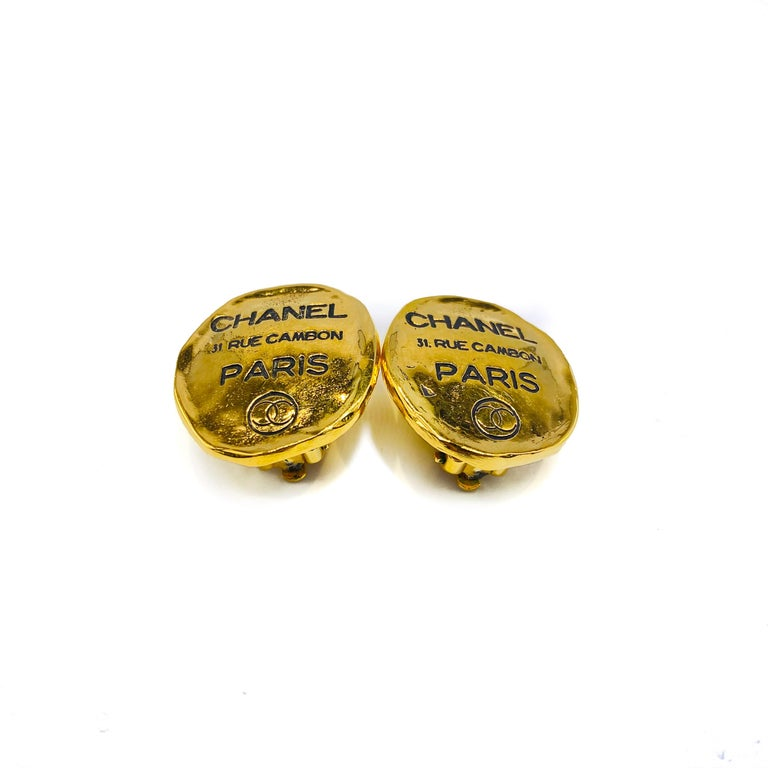 Chanel 1980s Vintage Clip On Earrings  Iconic earrings from the 80s Chanel archive, celebrating the address of the House of Chanel  Detail -Made in France in the early 1980s -Crafted from 18 karat gold plated metal -Features the iconic Chanel