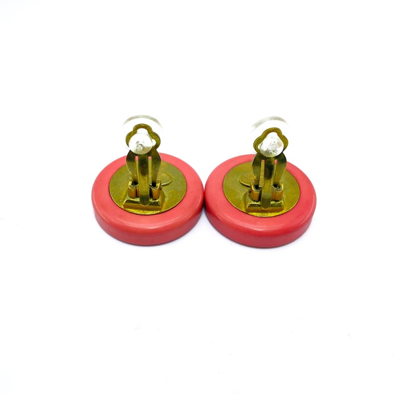 CHANEL Earrings Vintage 1990s Clip On For Sale 1