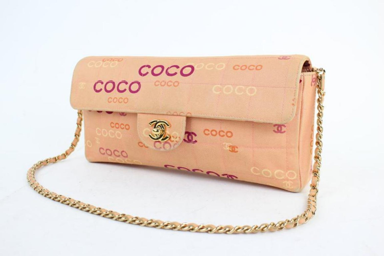 c65219168a40 Chanel East West Chocolate Bar Quilted Coco Flap 3ct915 Pink Canvas  Shoulder Bag at 1stdibs