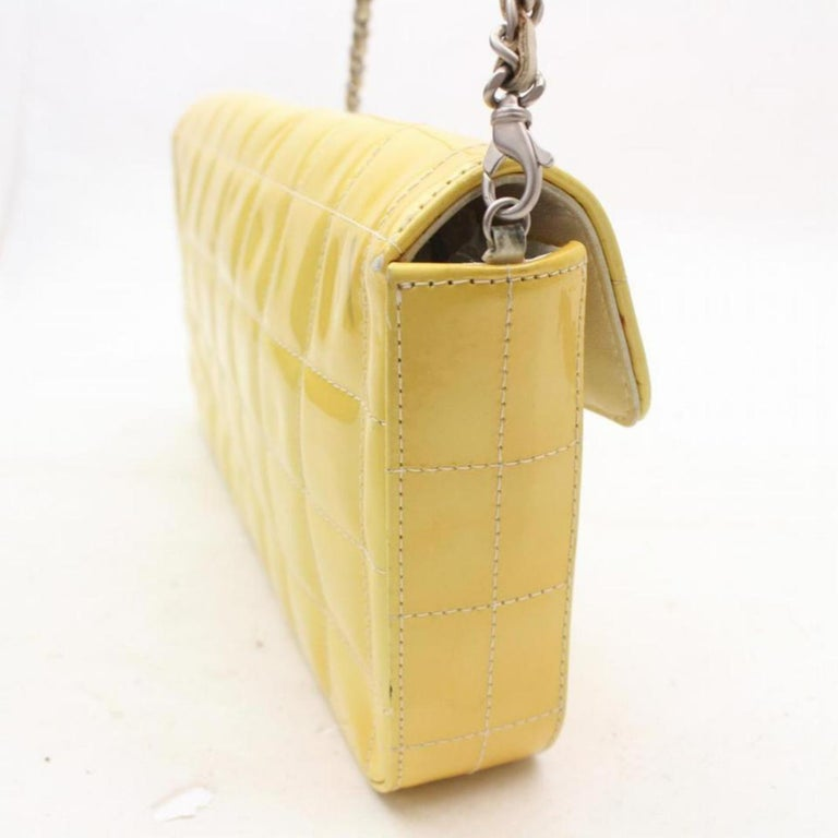 2f0a1df16256 Chanel East West Quilted Chocolate Bar Flap 869289 Yellow Shoulder Bag For  Sale 3