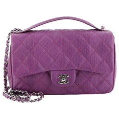Chanel Easy Carry Flap Bag Quilted Snakeskin Medium