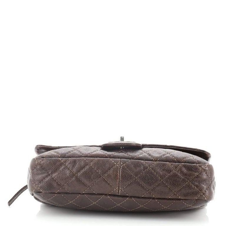 Women's or Men's Chanel Easy Flap Bag Quilted Caviar Medium For Sale