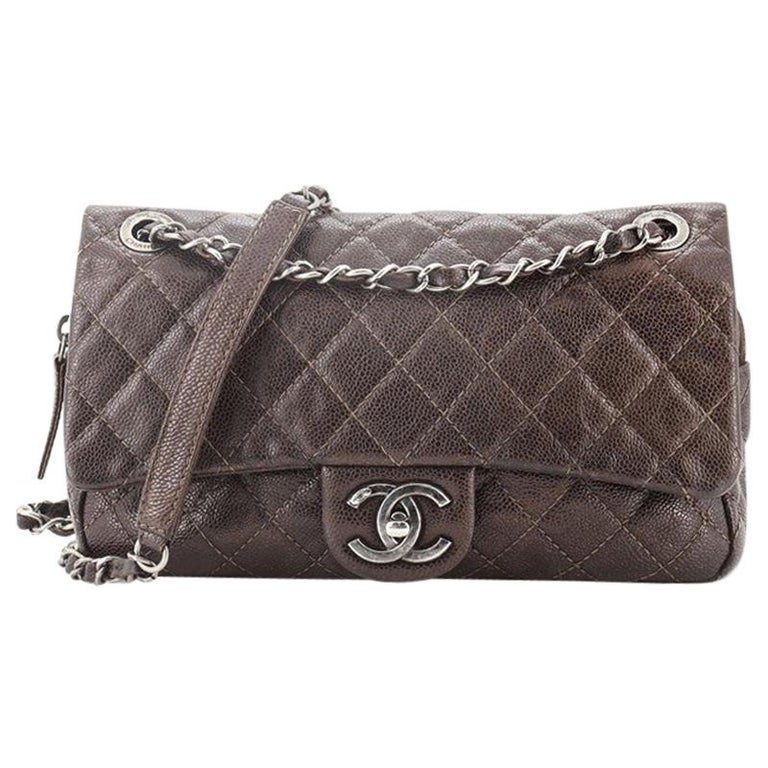 Chanel Easy Flap Bag Quilted Caviar Medium For Sale