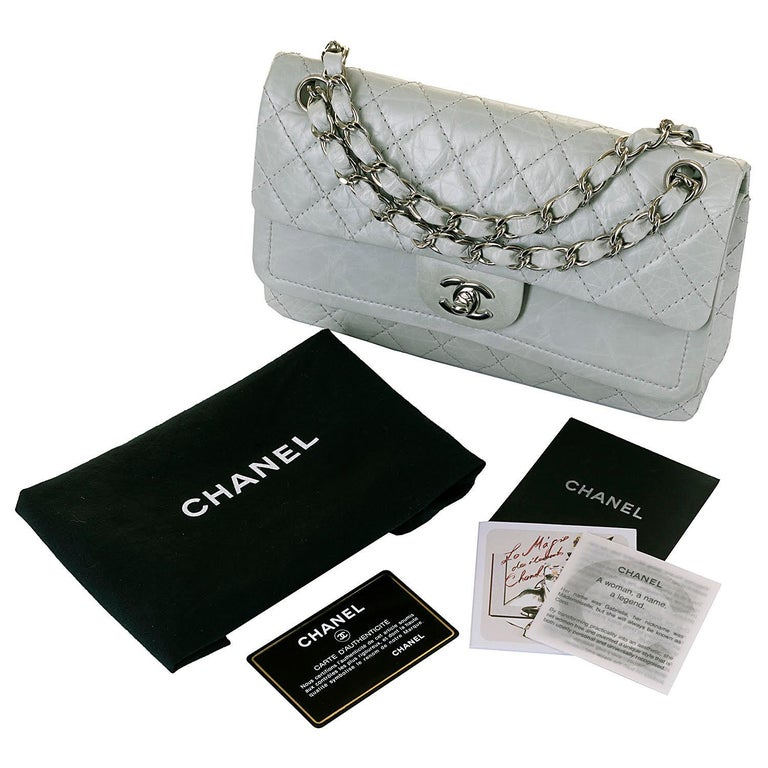 Chanel 'Eau-de-Nil' Quilted Double Flap Medium Bag with Silver Hardware - Rare In Excellent Condition For Sale In London, GB