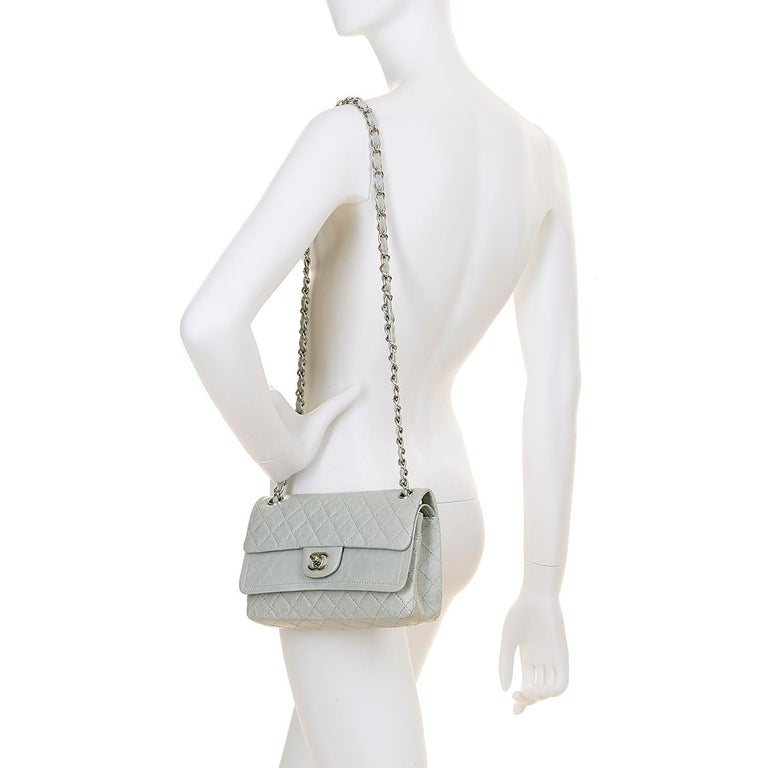 Women's Chanel 'Eau-de-Nil' Quilted Double Flap Medium Bag with Silver Hardware - Rare For Sale