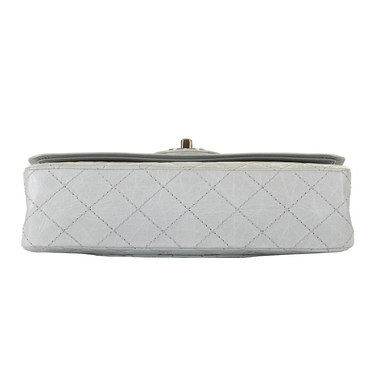 Chanel 'Eau-de-Nil' Quilted Double Flap Medium Bag with Silver Hardware - Rare For Sale 1