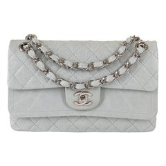 Chanel 'Eau-de-Nil' Quilted Double Flap Medium Bag with Silver Hardware - Rare
