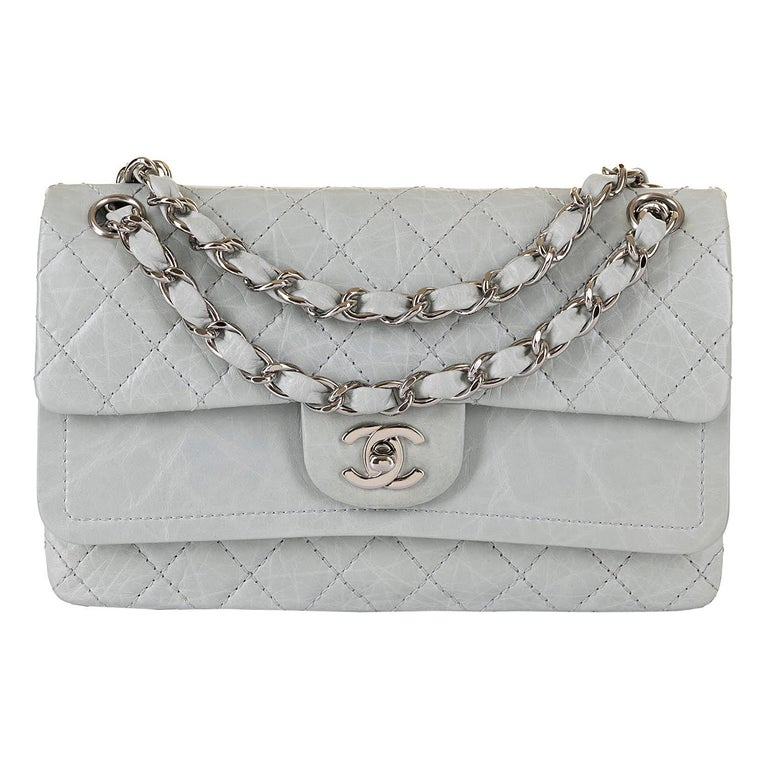 Chanel 'Eau-de-Nil' Quilted Double Flap Medium Bag with Silver Hardware - Rare For Sale