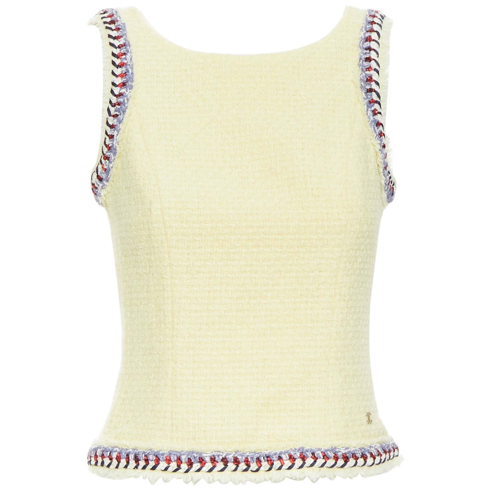 CHANEL ecru beige wool tweed blue braid trimming sleeveless vest top FR36
