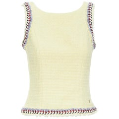 CHANEL ecru beige wool tweed blue braid trimming sleeveless vest top FR36